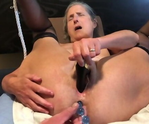 Scorching Mummy Masturbates with Black Rabbit and Anal..