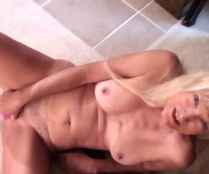 Thin Sexy Granny Nancy Jacked with Dildo on Video