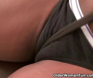 Office Granny Amanda Peels off off and Plays with her old..