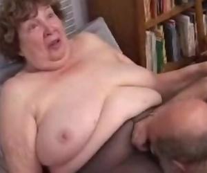 Nana Scare Vagina Licked and Blows old Dick