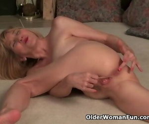 Thin Grandma Bossy Rider Takes off off and Plays with her..