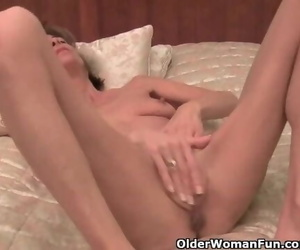 Very Skinny Granny Strips off and Jerks