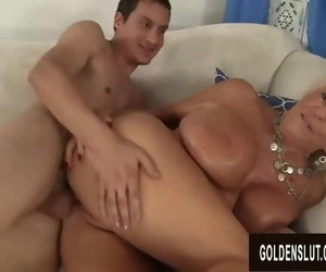 Buxomy Granny Mandi McGraw Pleasures Young Paramour with..
