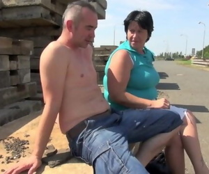 Plump Granny Nailed by Student Outdoor