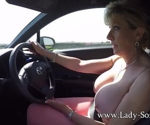 Mature Ash-blonde Lady Sonia Plays with her Tits while..