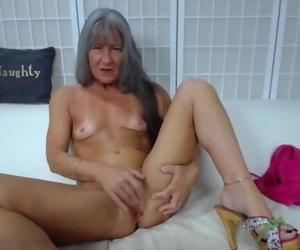 Trampy Granny Leilani with Grey Hair n Greedy Creamy Cunt