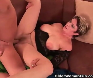 Sexy Grandma Loves his Cock in her Gullet and Hairy Pussy