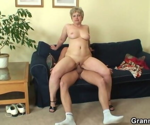 Lonely 60 Years old Granny Swallows Fat Cock