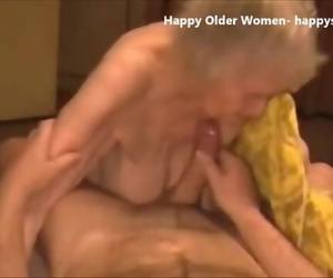 Spunking in Face of highly old Granny