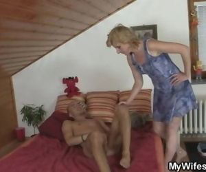 She Rides her Daughters BF Cock and Gets Unloaded