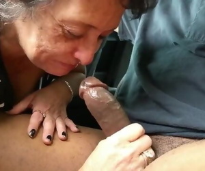 Granny Big-chested Captured Cock on Car