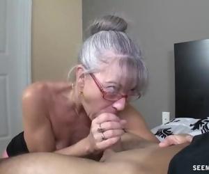 Lean Greyhaired Granny Deep throats my Hard-on