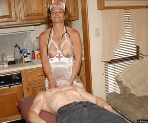 Trampy granny nurse Ivee jerking off spouses cock in kitchen