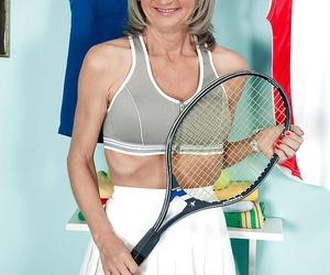 Cheyanne doffs tennis clothes before spreading pierced..