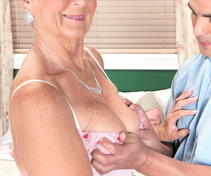 Brief haired nan Joanne Price performs gonzo sex acts with..