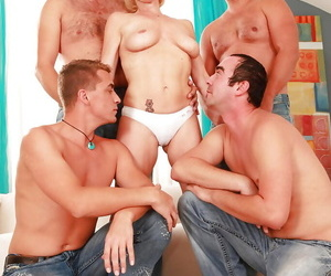 Trampy granny gets fucked gonzo and facialized by four studs