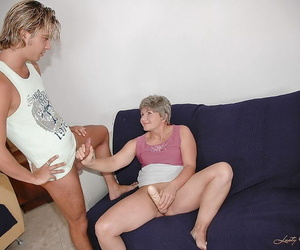 Brief haired granny gets her hairy twat screwed and..