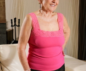 Horny granny Malya nude on her knees big-chested for..