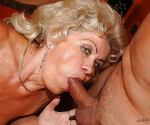 Lusty granny with huge breasts gets her unshaven vag..