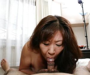 Asian granny Michiko Okawa gives a sensuous deep throat..