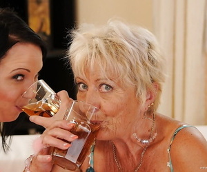 Mouthwatering granny has a drunk lesbian lovemaking with..