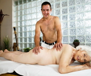 Nude oma finds herself getting screwed by her masseuse..