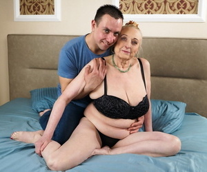 Old fatty with saggy breasts tastes her much younger..