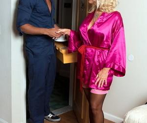 Huge blonde gal Charley Rose entices the ladyprick stud in..