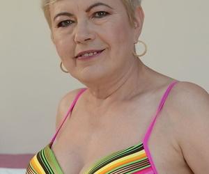 Light-haired granny in colorful lingerie Ursula Grande..