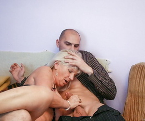 Granny Anna A takes cumshot on tits after ass screwing..