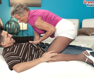 Over 70 granny Sandra Ann seduces a younger dude in..