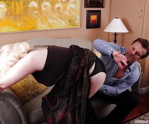 Fatty granny Toni loves BDSM and a taste of new jizz flow..