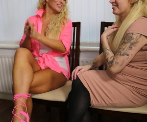 Older and younger blondes share a young mans firm shaft on..