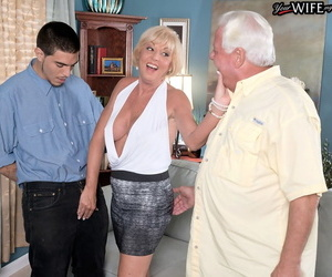 Gray-haired husband watches mature wife Scarlet Andrews..