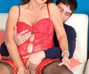 Sexy nan Jacqueline Jolie gets nailed by her junior dude..