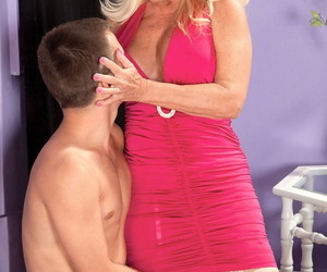 Granny Julia Pouch sucks youthful dude shaft & gets a..