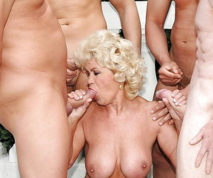 Nomable granny with big plump jugs gets blowbanged and..