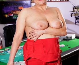 Naughty old granny gets a huge hooter rubdown and a face..