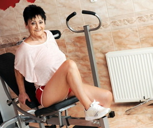 Fit granny goes pussy-to-mouth with her personal trainer..