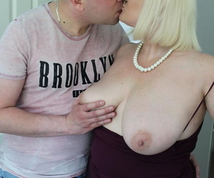 Overweight light-haired granny Lacey Starr seduces her son..