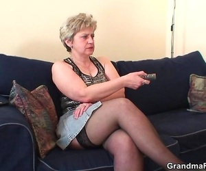 Nasty granny thirsts shaft meat and gets a thick fat slab..
