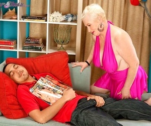 Slutty grandma miriam harding deep-throats a black cock -..