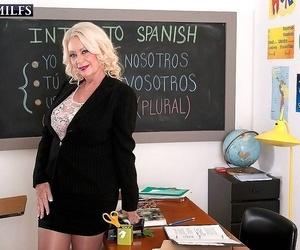 Mature teacher angelique dubois deep throats and screws -..