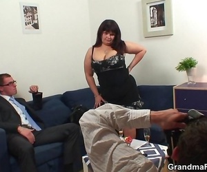 A threesome featuring a thick mature whore taking two..