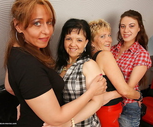 4 wild old and youthfull lesbians having a soiree - part..