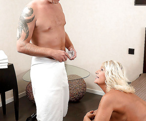Blond granny sporting creampie after massage and hardcore..