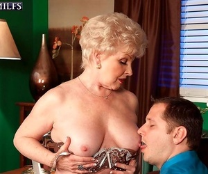 Sexy office granny nub fuckin' her cunt with stiff salami..