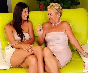 Granny lesbian and young lesbian having passionat sex -..