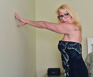 Blonde canadian housewife polishing on her bed - part 3362