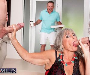 Granny silva foxx screws 2 men while her cuckold husband..